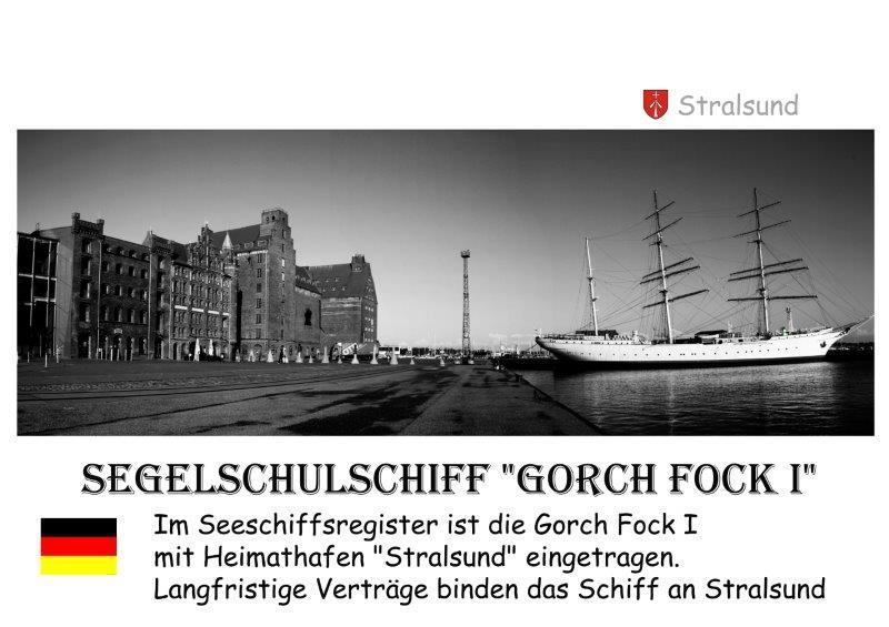 Segelschiff Gorch Fock Liegeplatz Stralsund